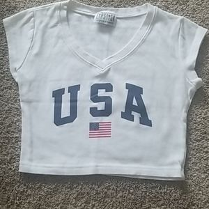 Cropped USA flag top